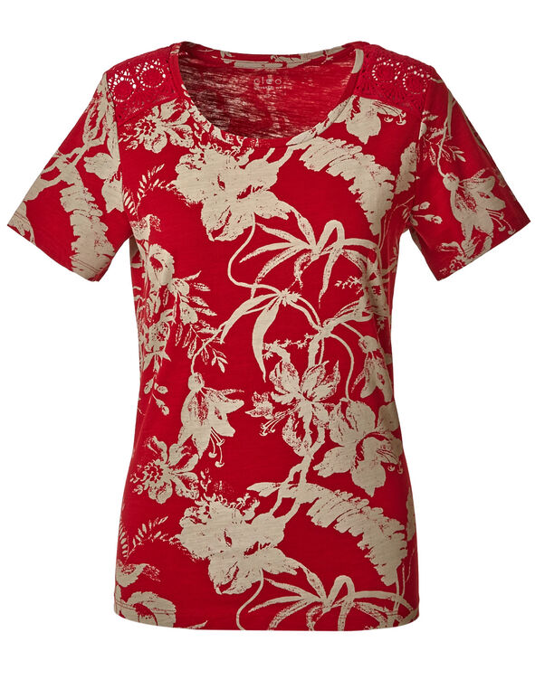 Scarlet Patterned Cotton Tee, Scarlett Red/Mushroom, hi-res