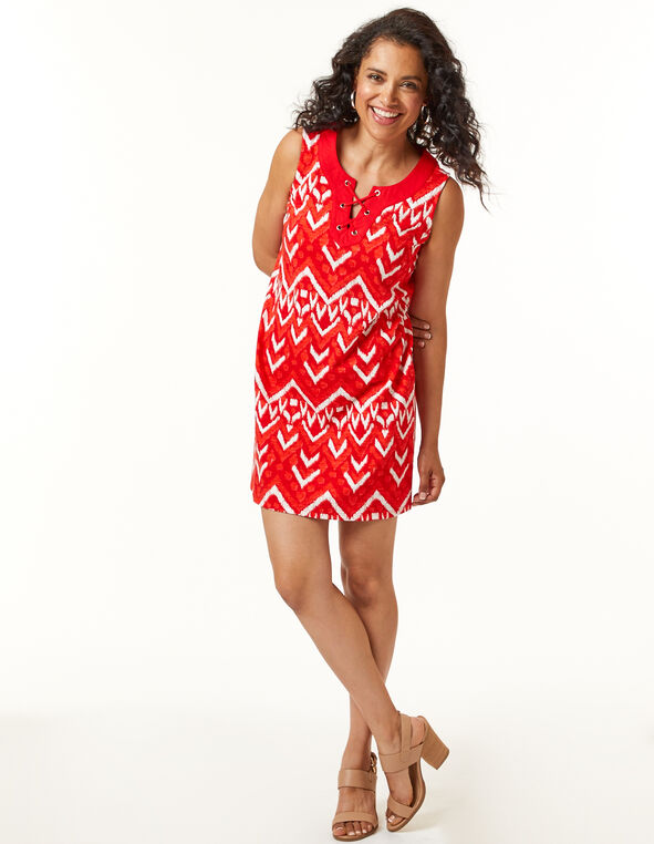 Cajun Tie Neck Slub Dress, Red, hi-res