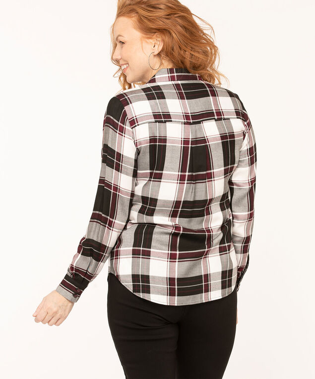 Plaid Collared Button Front Blouse, Black/White/Mulberry, hi-res