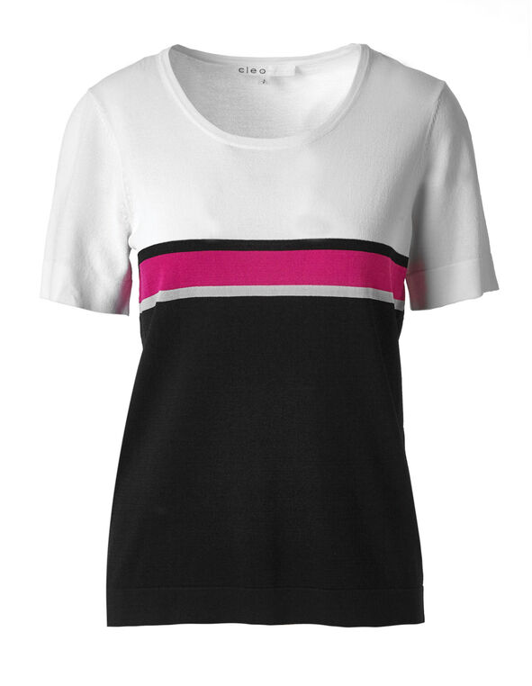 Black & White Striped Crepe Top, Black/White/Pink, hi-res