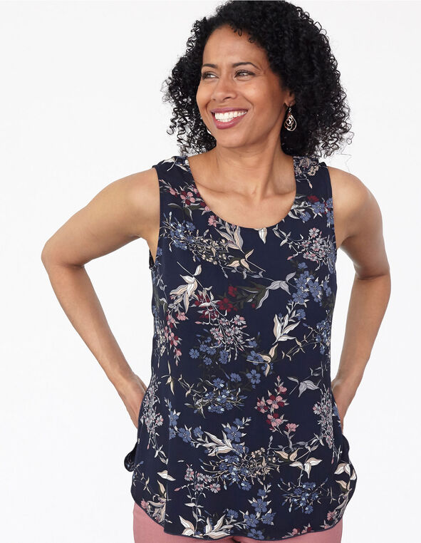 Navy Floral Shell Blouse, Blue, hi-res