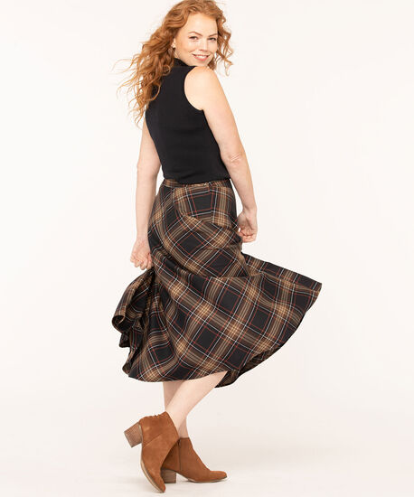 Plaid A-Line Midi Skirt, Camel, hi-res