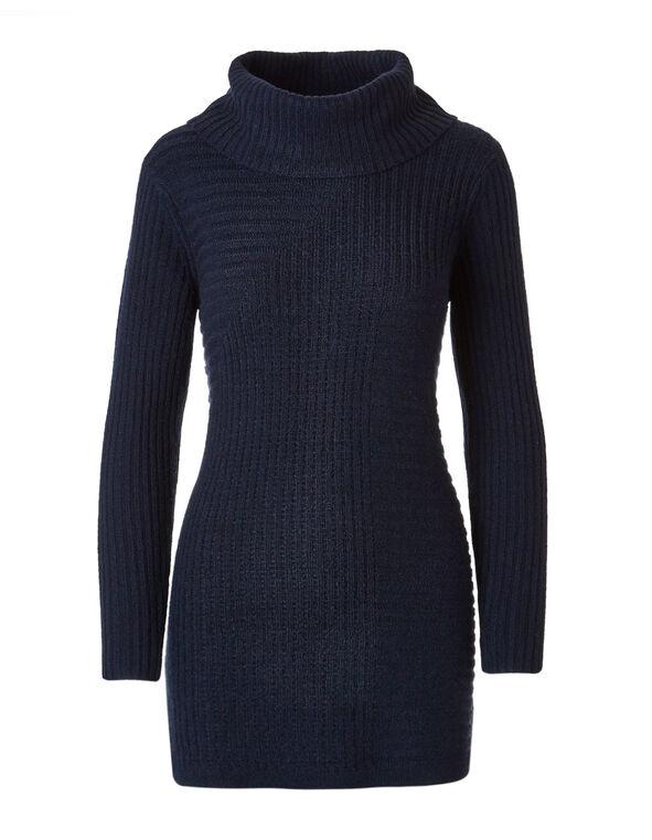 Navy Rib Knit Cowl Neck Sweater, Navy, hi-res