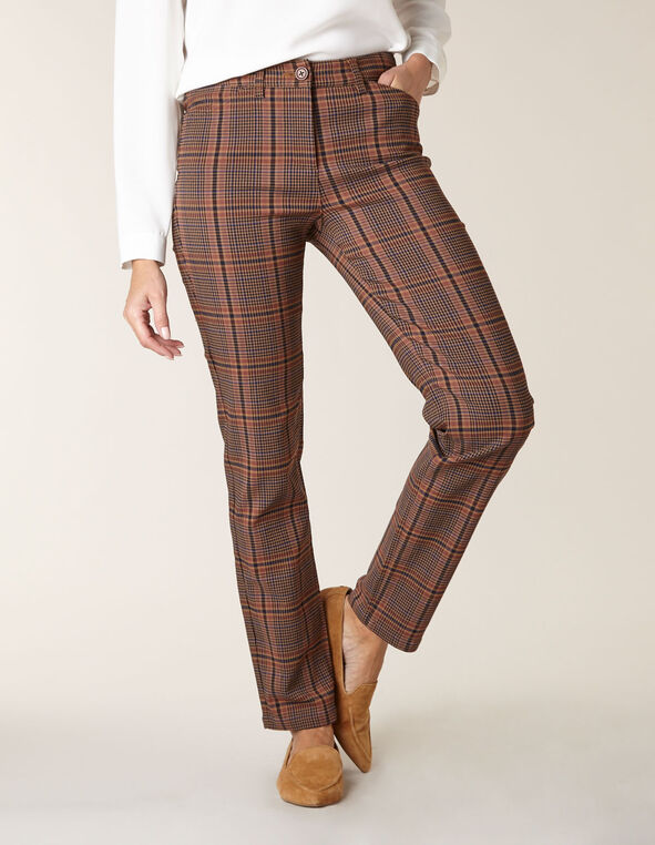 Camel Plaid Butt Lift Slim Pant, Brown, hi-res
