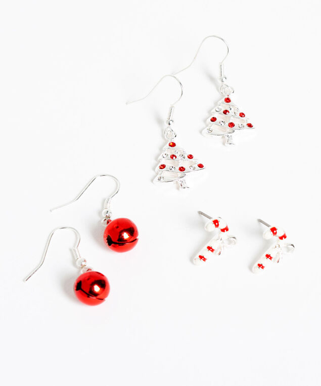 Festive Trio Earring Set, Silver/Red, hi-res