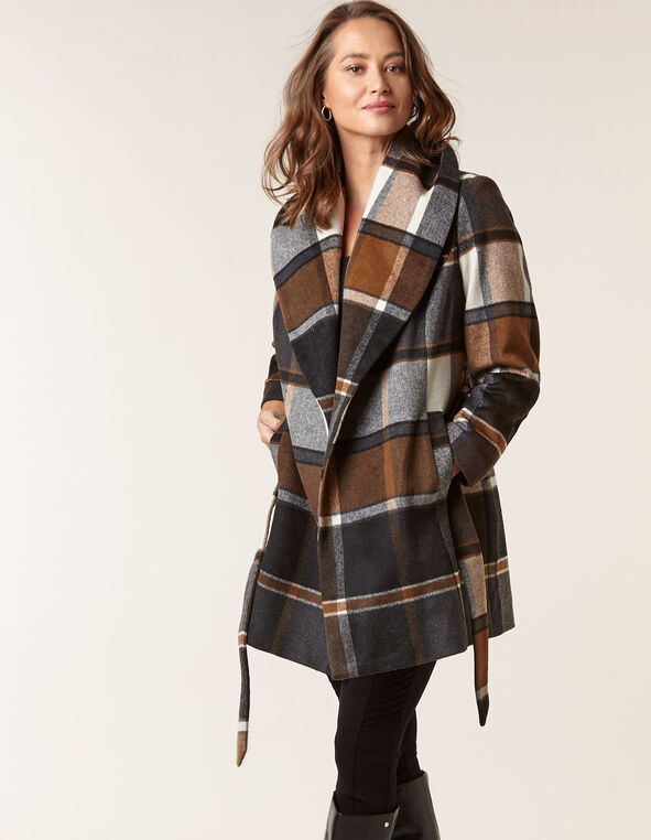 Brown Wool Blend Plaid Wrap Coat, Md Brown, hi-res