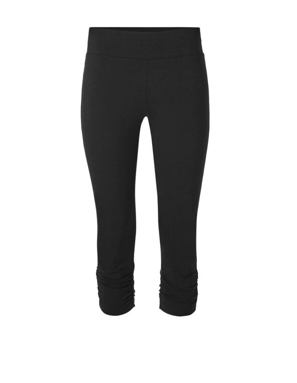 Black Cotton Ruched Capri, Black, hi-res