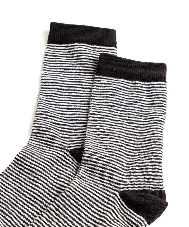 Striped Crew Socks, Black/White Stripe