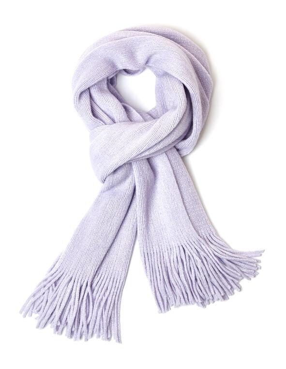Mauve Shimmer Knit Scarf, Purple, hi-res