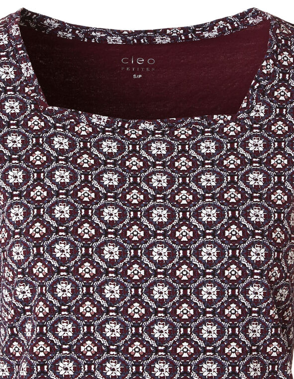 Merlot Patterned Square Neck Tee, Merlot, hi-res