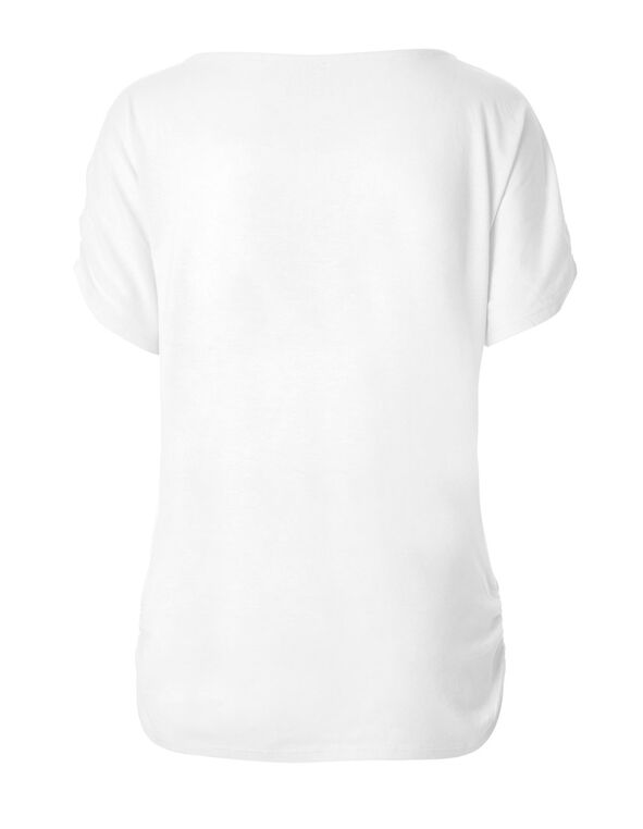 White Shirred Detail Tee, White, hi-res
