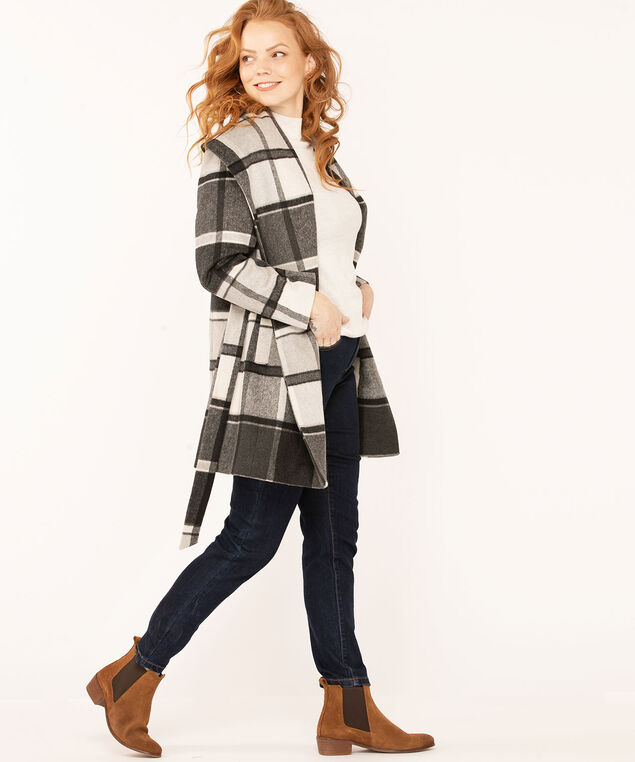Grey Plaid Wool Wrap Coat, Charcoal/Black/Grey, hi-res