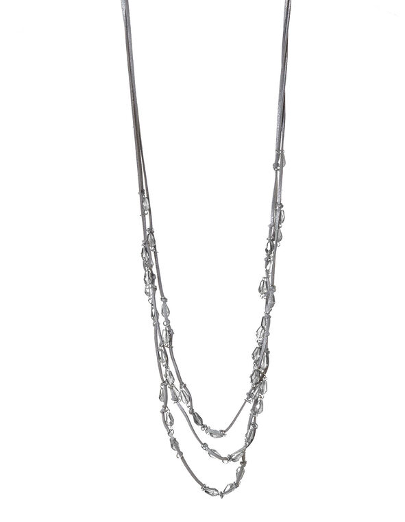 Silver Cord Beaded Necklace, Silver, hi-res