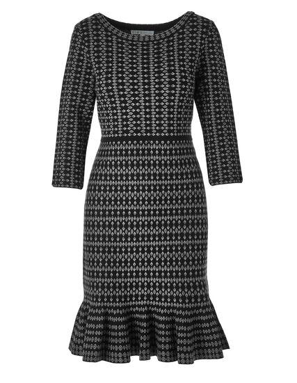 Black Patterned Sweater Dress, Black, hi-res