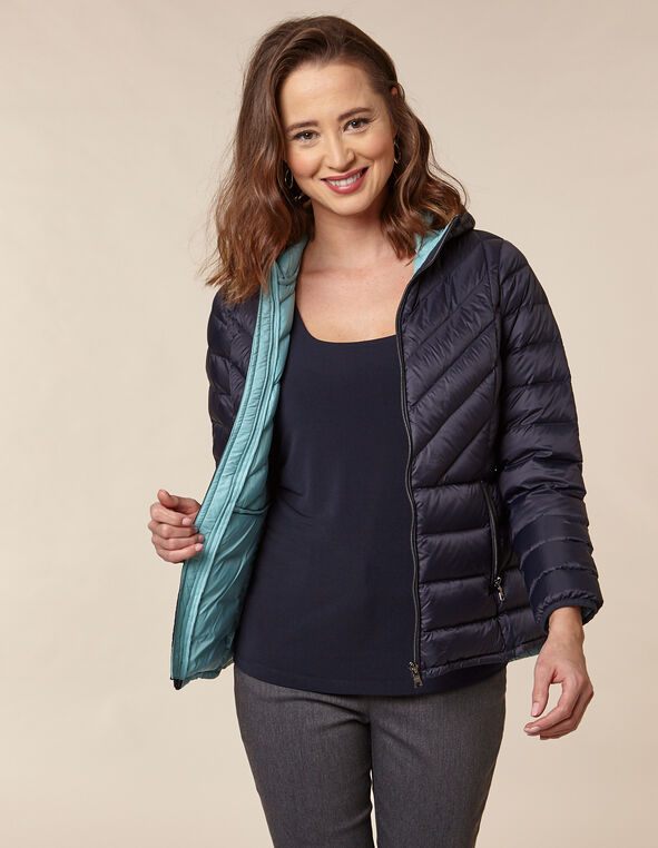 Navy Packable Down Puffer, Navy, hi-res