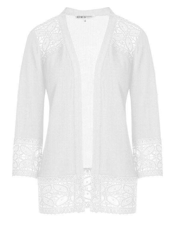 White Lace Trim Cardigan , White, hi-res