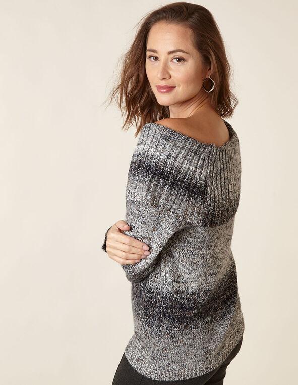 Navy Mix Marilyn Neck Sweater, Navy, hi-res