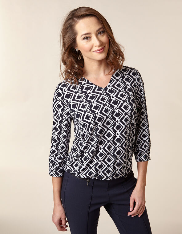 Navy Printed Crepe Top, Navy/White, hi-res