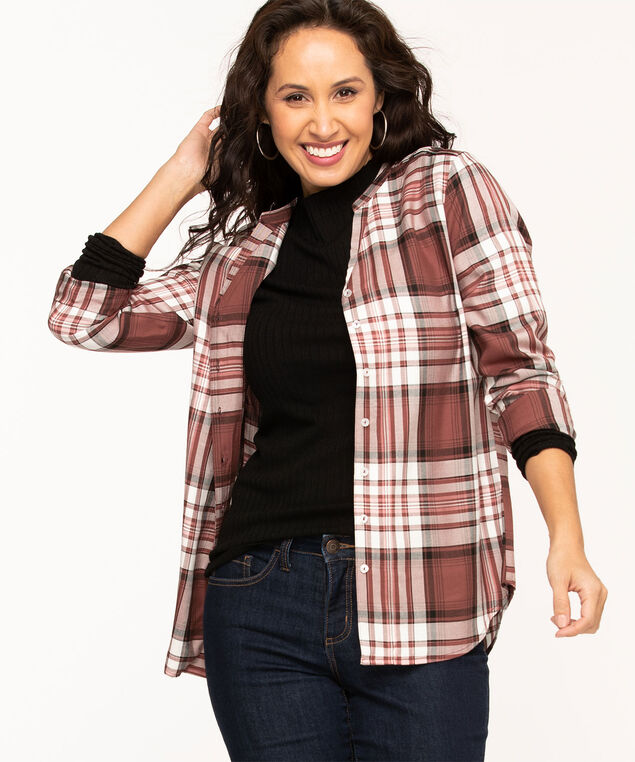 Rosewood Plaid Button Front Blouse, Rosewood Plaid