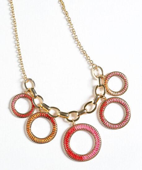 Threaded Rim Statement Necklace, Pink/Orange/Gold, hi-res