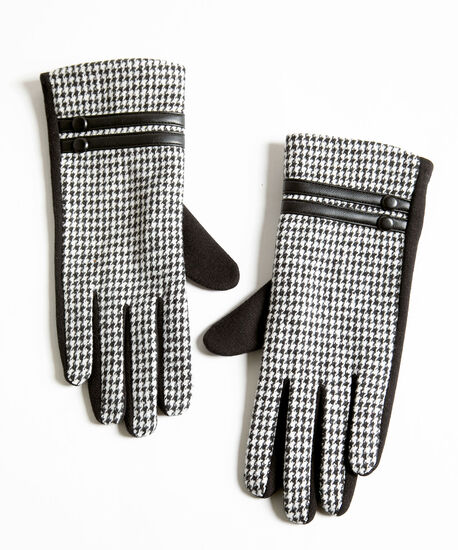Houndstooth Button Trim Gloves, Black/Ivory, hi-res