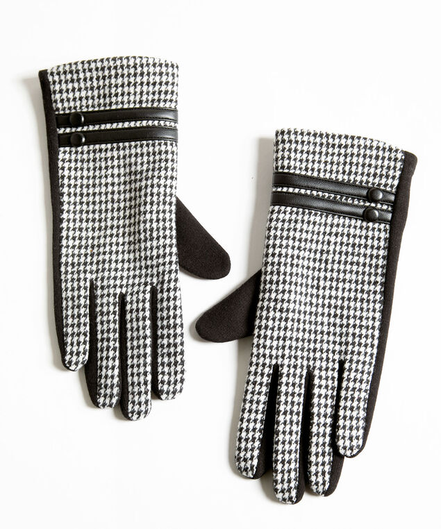 Houndstooth Button Trim Gloves, Black/Ivory