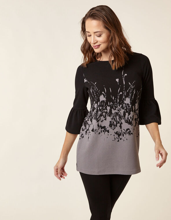 Black Floral Crepe Tunic Top, Black, hi-res