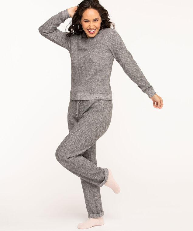 Lightweight Waffle Knit Top, Grey