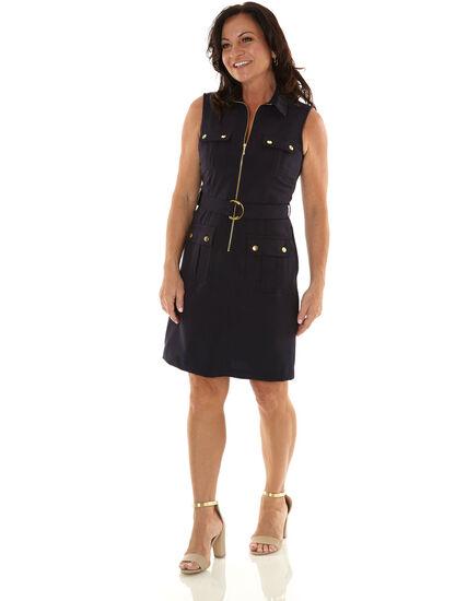 Navy Zipper Front Sheath Dress, Navy, hi-res