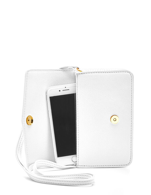 White Phone Case Crossbody Bag, White, hi-res