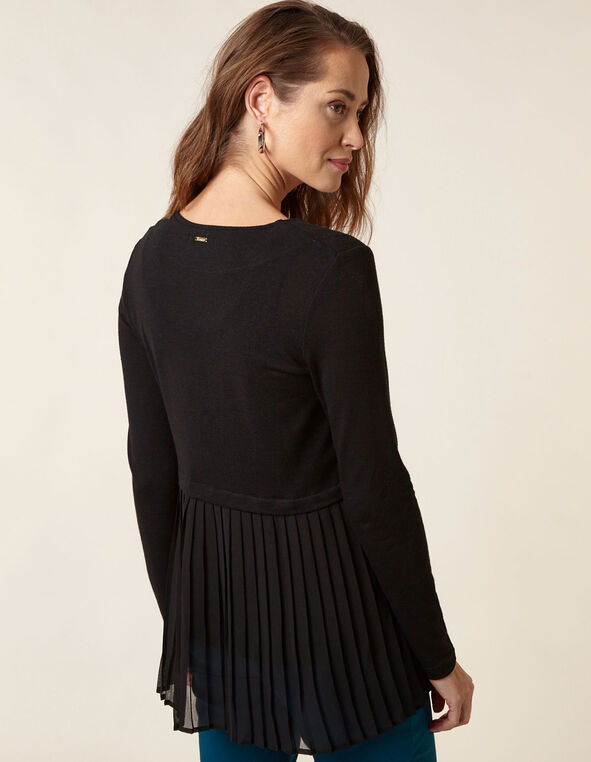 Black Chiffon Hem Cardigan, Black, hi-res
