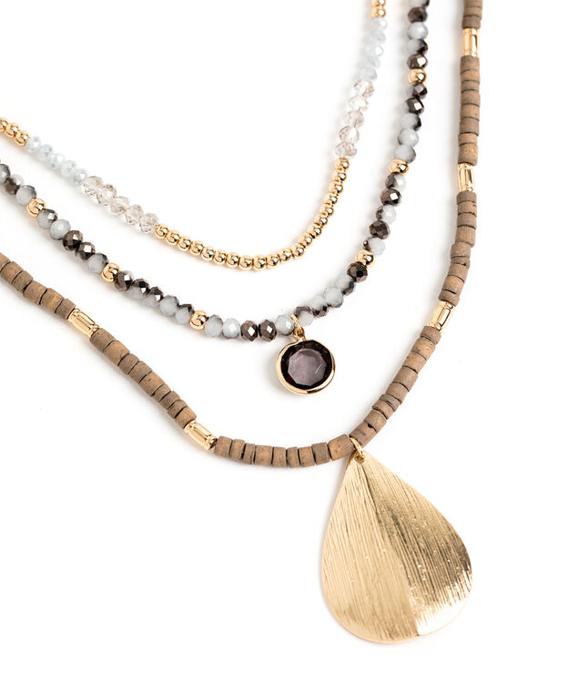Multichain Beaded Pendant Necklace, Gold