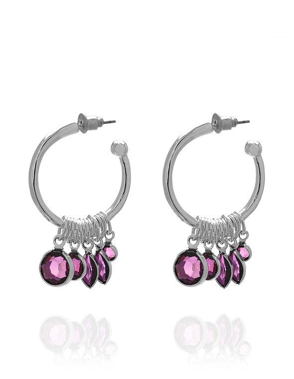 Purple Stone Hoop Earring, Purple, hi-res