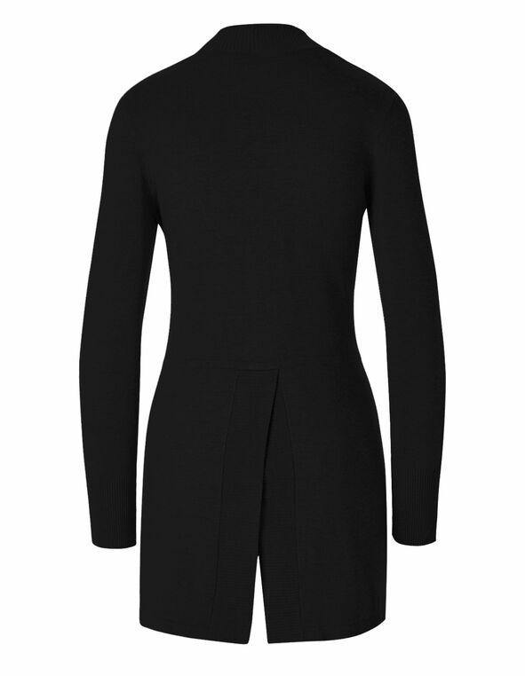 Black Split Back Cardigan, Black, hi-res