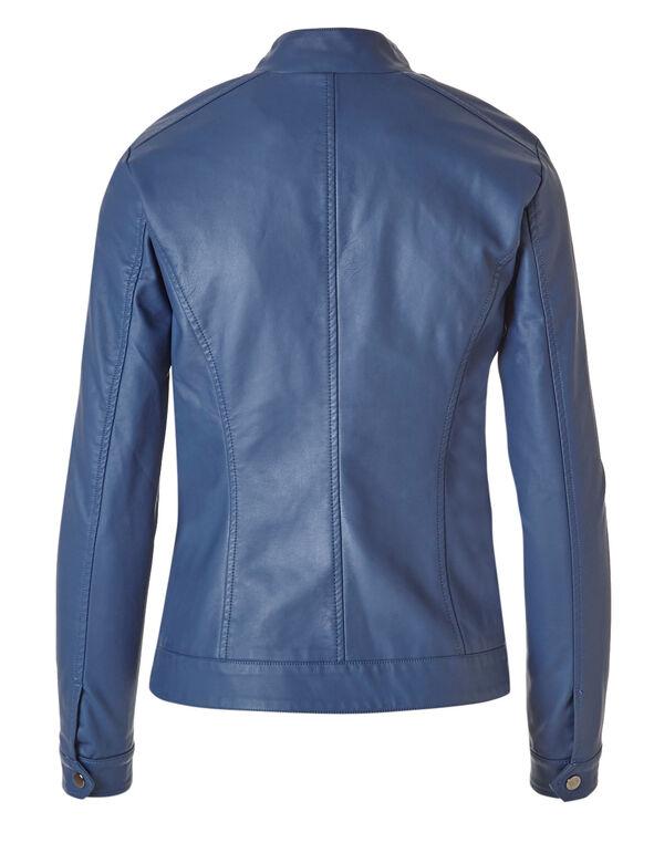 Blue Faux Leather Studded Jacket, Blue, hi-res