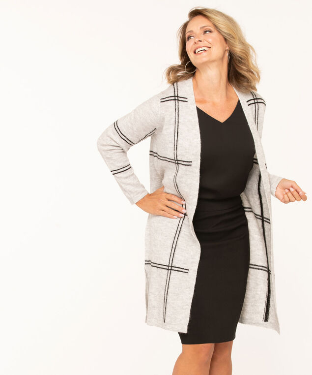 Windowpane Long Open Cardigan, Lt Grey, hi-res