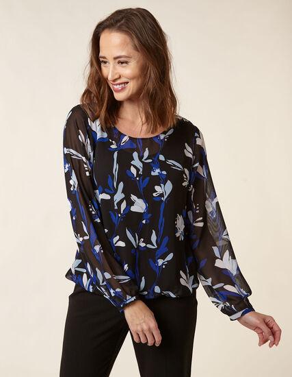 Black Printed Chiffon Overlay Blouse, Black/Blue, hi-res