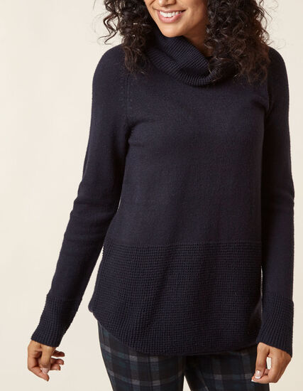 Navy Cowl Neck Sweater, Navy, hi-res