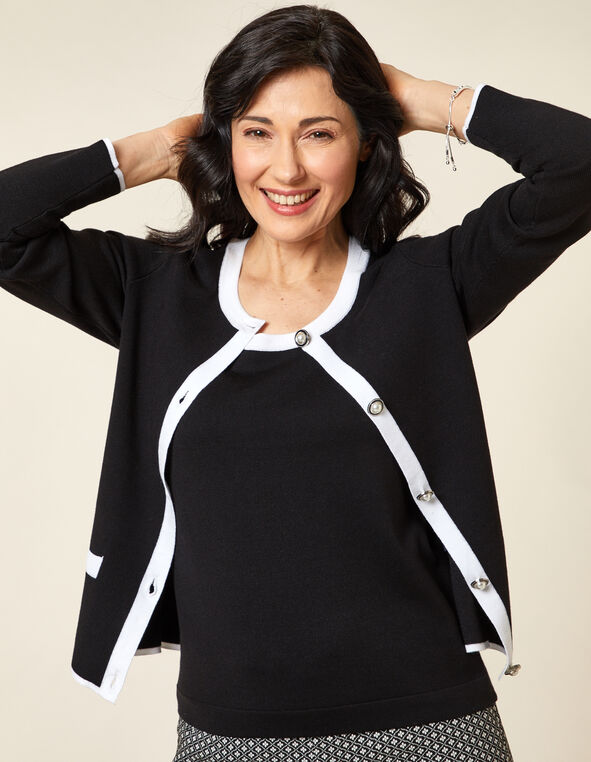 Black Contrast Button Cardigan, Black, hi-res