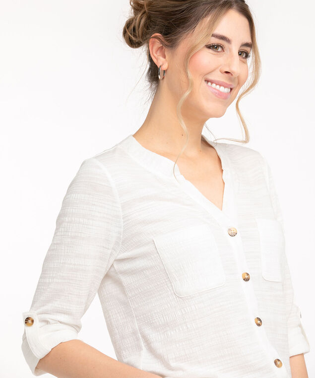 Textured Button Front 3/4 Sleeve Top, Ivory