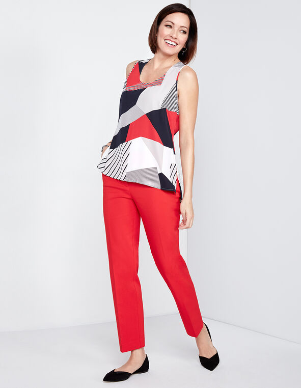 Mixed Pattern Shell Blouse, Red/Navy Stripe, hi-res