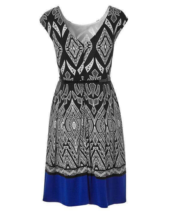 Puff Printed Dress, Black/White, hi-res