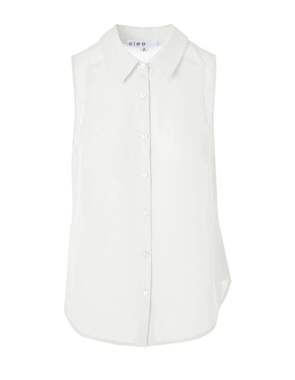 Ivory Button Front Sleeveless Blouse, Ivory, hi-res
