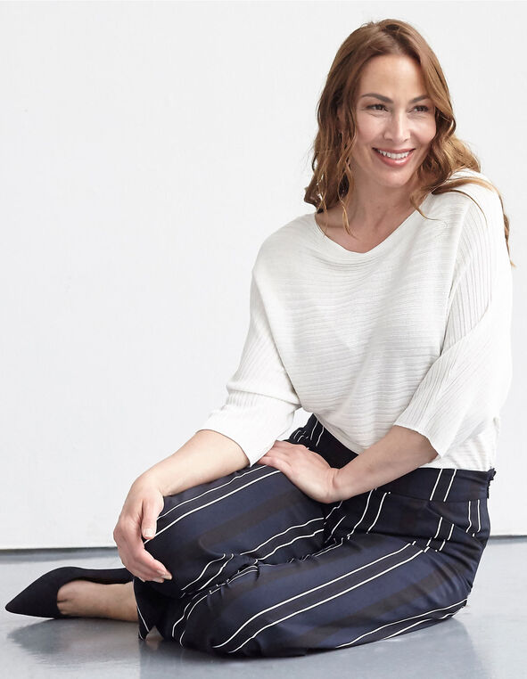 Ivory Ribbed Dolman Sleeve Pullover, Ivory, hi-res