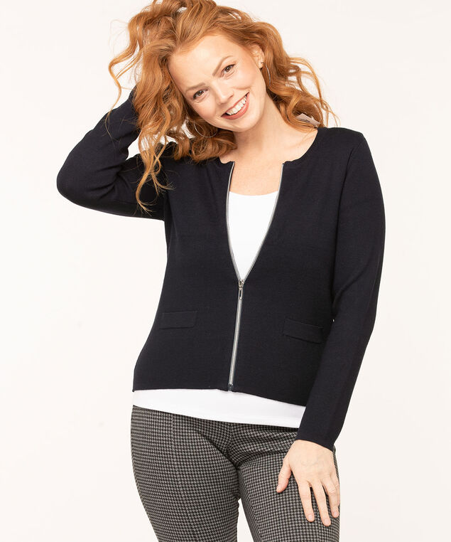Long Sleeve Zip Front Cardigan, Navy