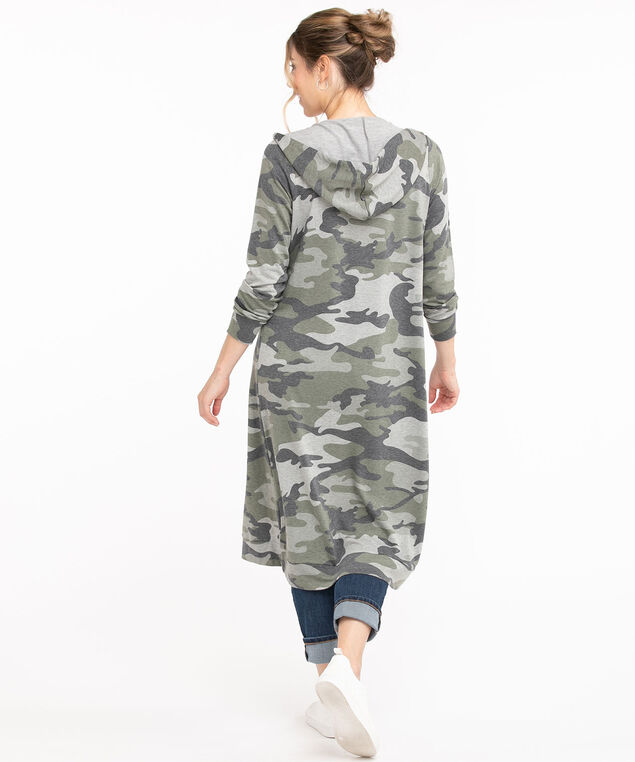 Camo Hooded French Terry Duster Cardigan, Camo