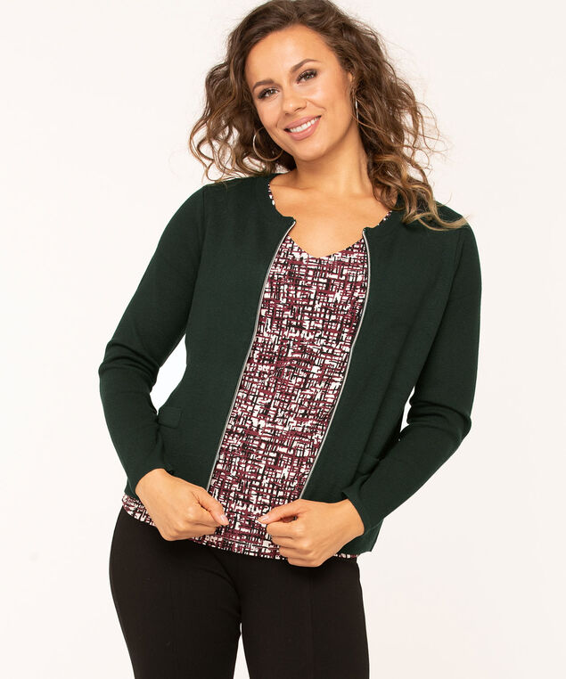 Long Sleeve Zip Front Cardigan, Dk Green