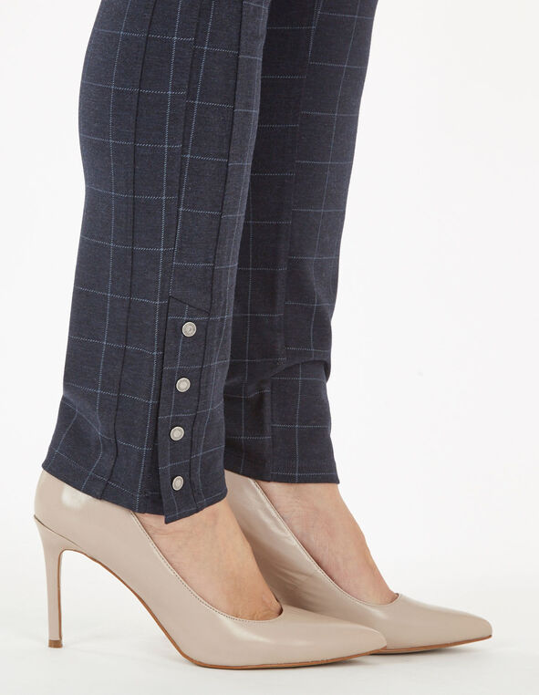 Blue Plaid Snap Bottom Legging, Navy, hi-res
