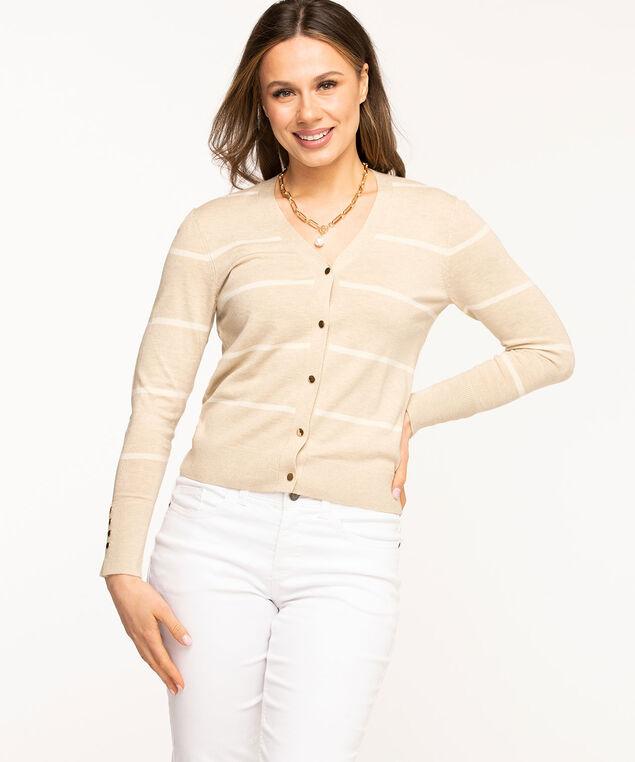V-Neck Snap Front Cardigan, Sand/White Stripe