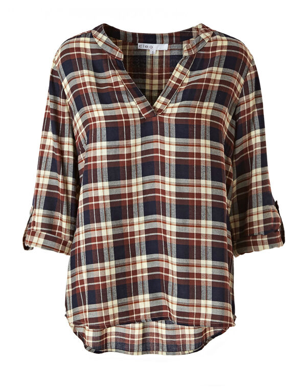 Brown & Navy Plaid Blouse, Brown, hi-res